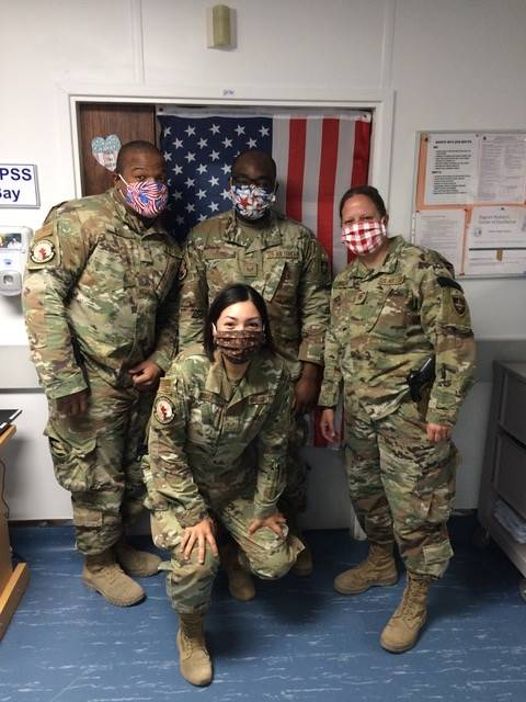 Air Force nurses in Afghanistan wearing the masks we sent them!
